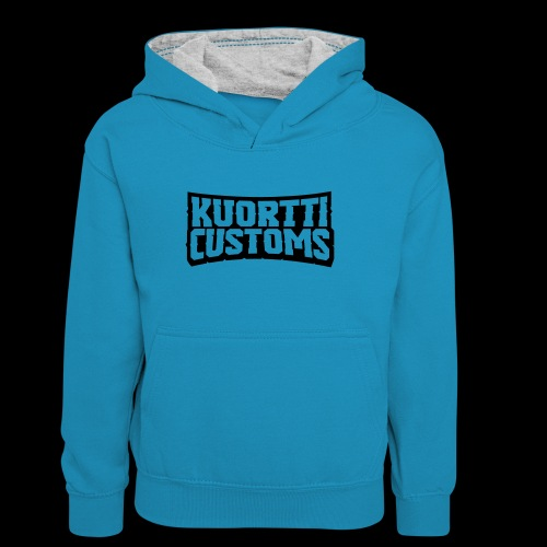 kuortti_customs_logo_main - Teinien kontrastivärinen huppari