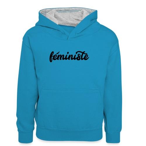 féministe - Sweat à capuche contrasté Ado