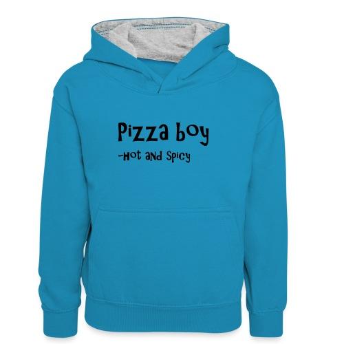 Pizza boy - Kontrast-hettegenser for tenåringer
