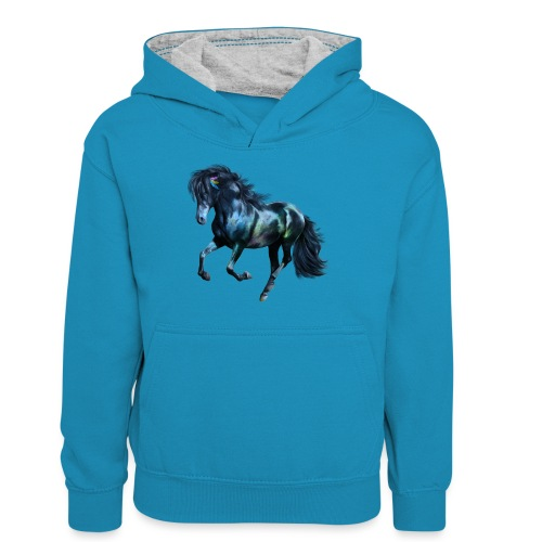 The Blue Horse - Teenager Kontrast-Hoodie
