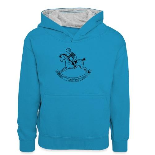konik na biegunach - Młodzieżowa bluza z kontrastowym kapturem