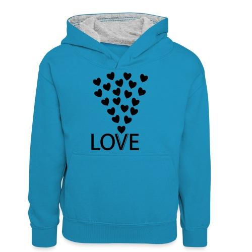LOVE Herz - Teenager Kontrast-Hoodie