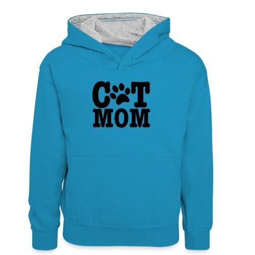 cat mom - Teenager contrast-hoodie