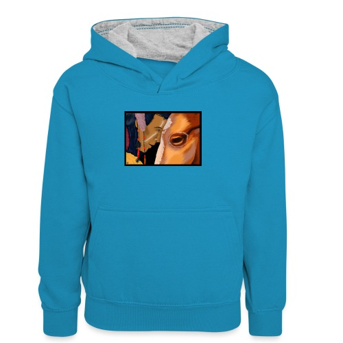 Man and Horse - Teenager contrast-hoodie
