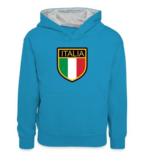 SCUDETTO ITALIA CALCIO - Felpa con cappuccio in contrasto cromatico per ragazzi