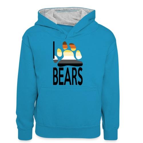 I love bears - Sweat à capuche contrasté Ado