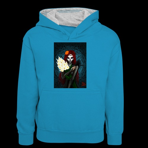 Death and lillies - Teenager Contrast Hoodie