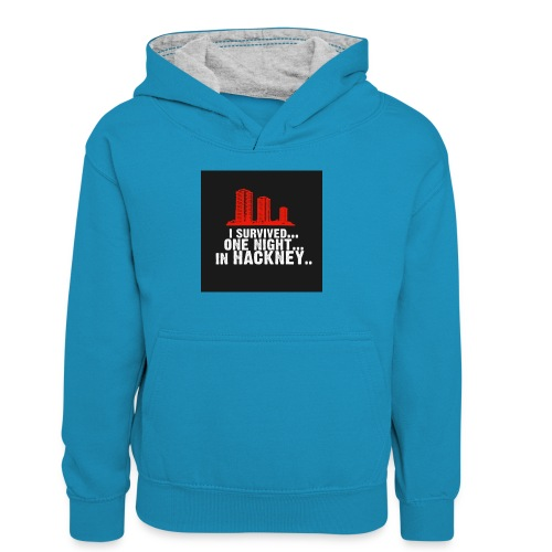 i survived one night in hackney badge - Teenager Contrast Hoodie