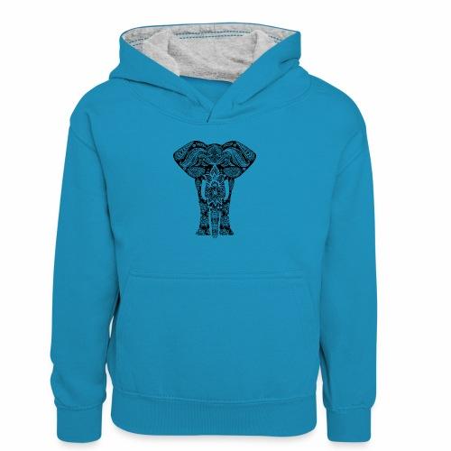 Ażurowy słoń - Młodzieżowa bluza z kontrastowym kapturem