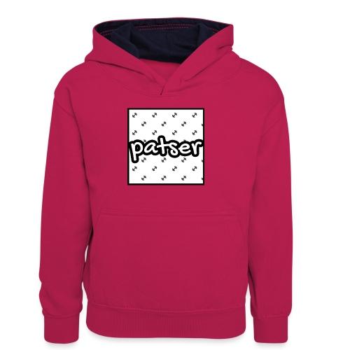 Patser - Basic Print White - Teenager contrast-hoodie
