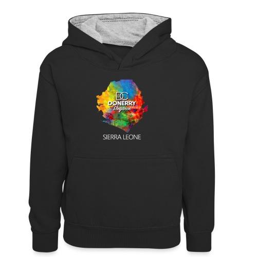 Sierra Leone Colourful Map Dark - Teenager Contrast Hoodie