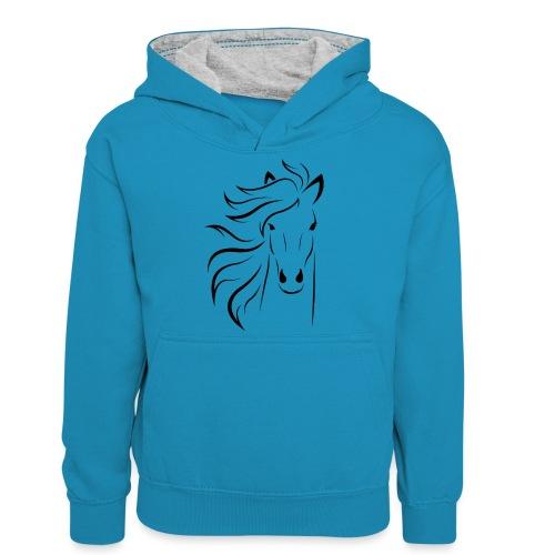 pferd silhouette - Teenager Kontrast-Hoodie
