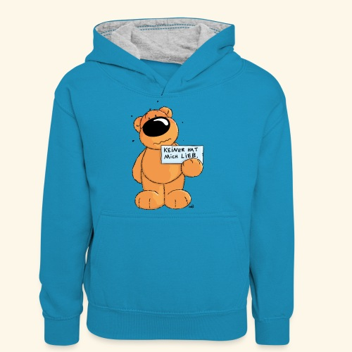 chris bears Keiner hat mich lieb - Teenager Kontrast-Hoodie