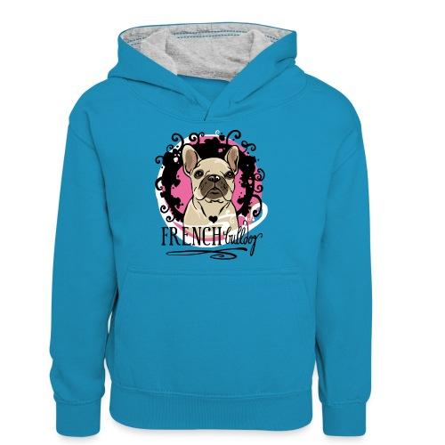 Pink - Teenager Kontrast-Hoodie
