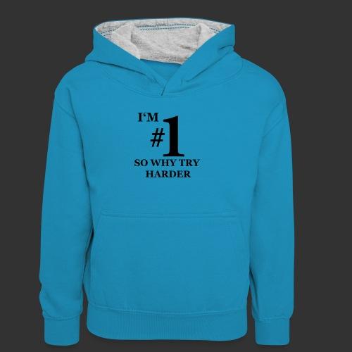 T-shirt, I'm #1 - Kontrastluvtröja tonåring