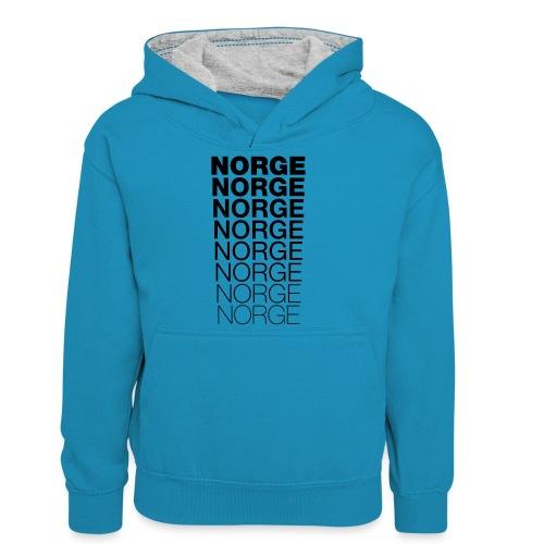 Norge Norge Norge Norge Norge Norge - Kontrast-hettegenser for tenåringer