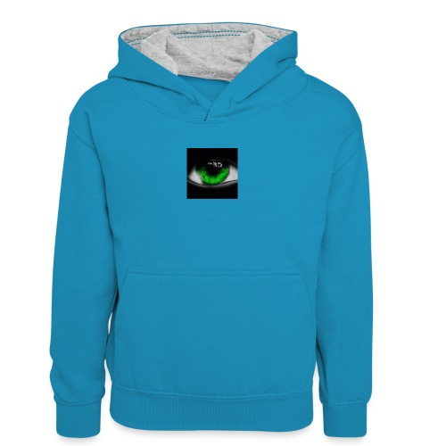Green eye - Teenager Contrast Hoodie