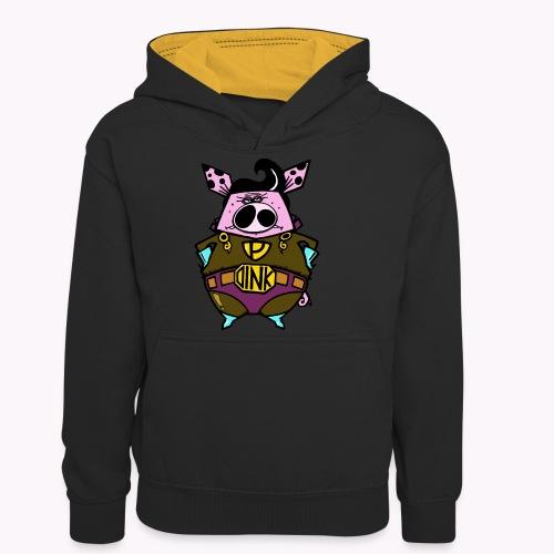 super oink col - Felpa con cappuccio in contrasto cromatico per ragazzi