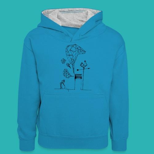 Carta_gatta-png - Felpa con cappuccio in contrasto cromatico per ragazzi