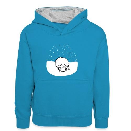 Schneebedeckte Schafe - Teenager Kontrast-Hoodie
