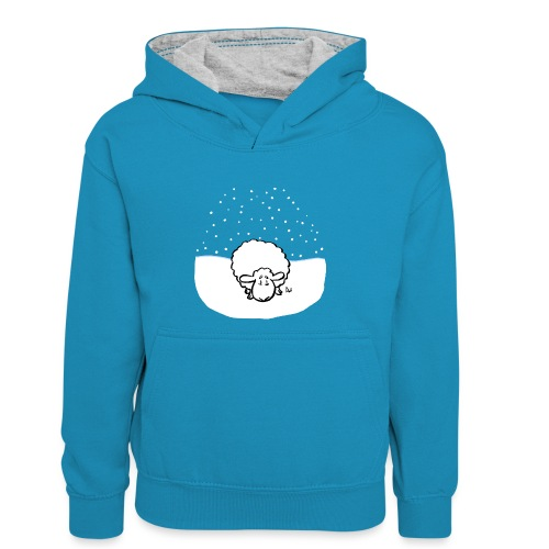 Snowy Sheep - Felpa con cappuccio in contrasto cromatico per ragazzi