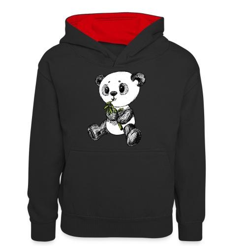Panda Karhu värillinen scribblesirii - Teinien kontrastivärinen huppari