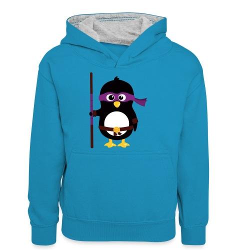 Pingouin ninja - Sweat à capuche contrasté Ado