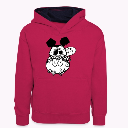 ugly pig - Felpa con cappuccio in contrasto cromatico per ragazzi