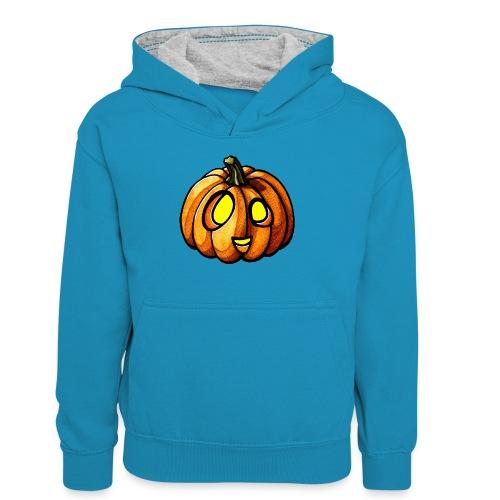 Pumpkin Halloween watercolor scribblesirii - Teenager Contrast Hoodie