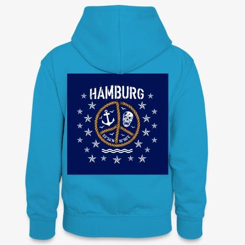 07 Hamburg Totenkopf Koordinaten Peace Anker Maske - Teenager Kontrast-Hoodie