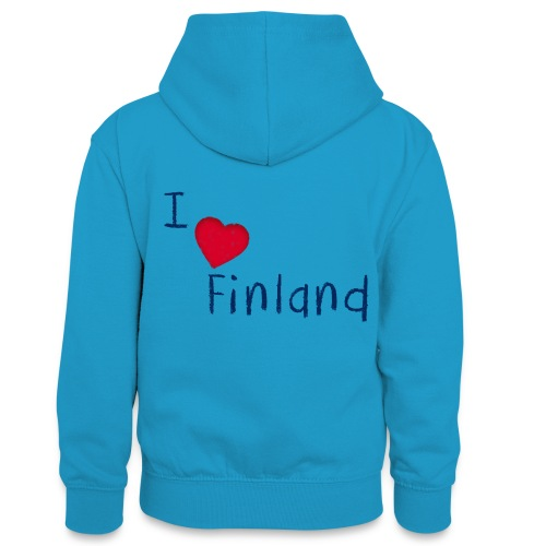 I Love Finland - Teinien kontrastivärinen huppari