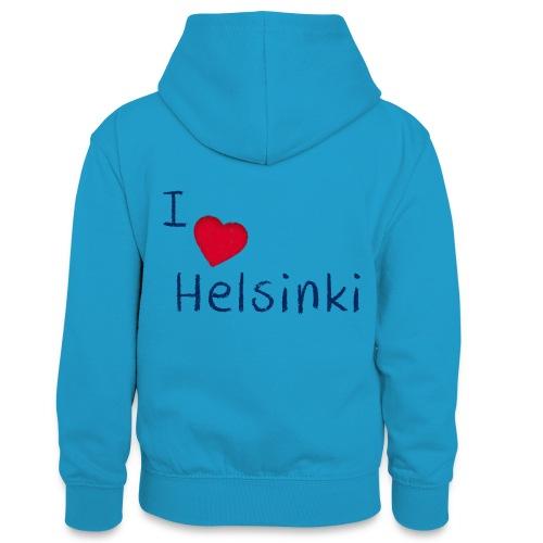 I Love Helsinki - Teinien kontrastivärinen huppari