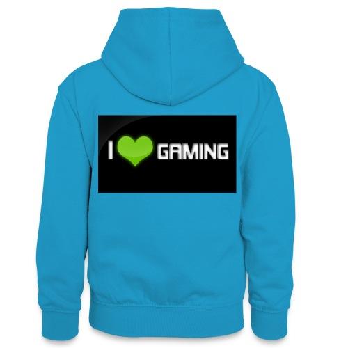 I Love Gaming Shadow Gamer - Teenager Kontrast-Hoodie