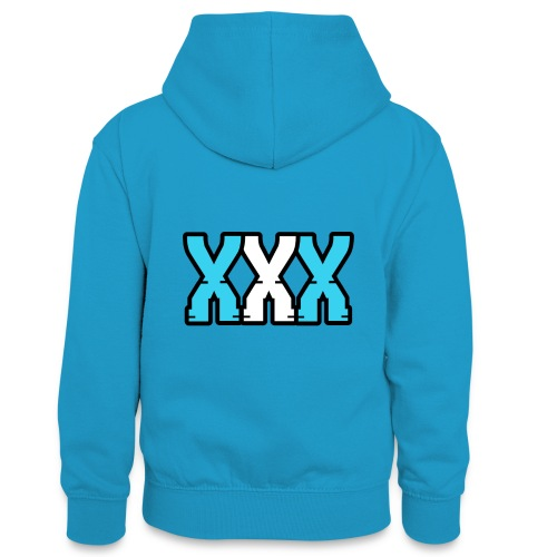 XXX (Blue + White) - Teenager Contrast Hoodie