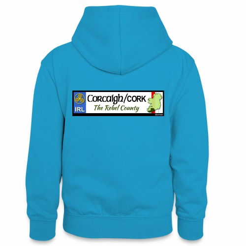 CO. CORK, IRELAND: licence plate tag style decal - Teenager Contrast Hoodie
