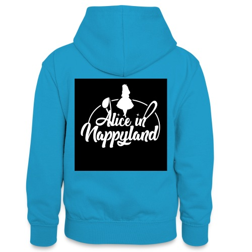 Alice in Nappyland TypographyWhite 1080 - Teenager Contrast Hoodie