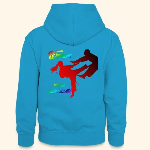 woman mean unbreakable - Felpa con cappuccio in contrasto cromatico per ragazzi