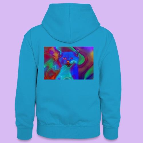 Gattino con effetti neon surreali - Felpa con cappuccio in contrasto cromatico per ragazzi