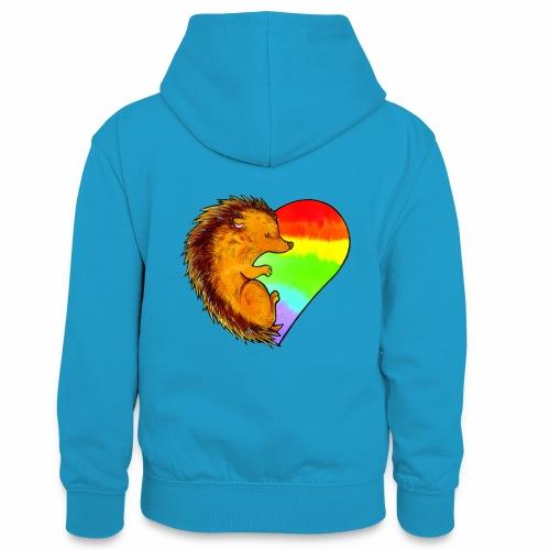 RICCIO - Felpa con cappuccio in contrasto cromatico per ragazzi