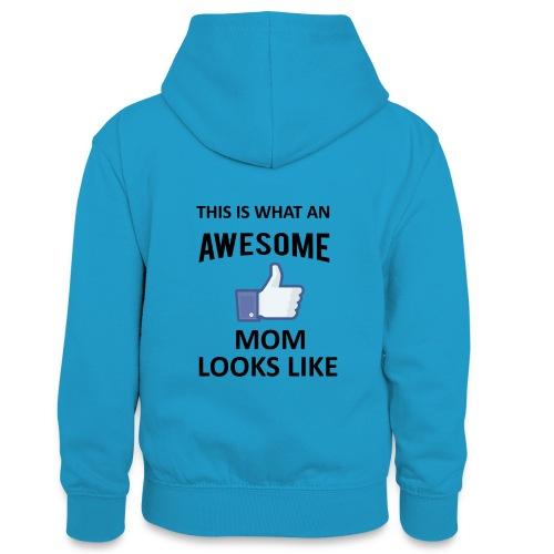 Awesome Mom - Teenager Kontrast-Hoodie