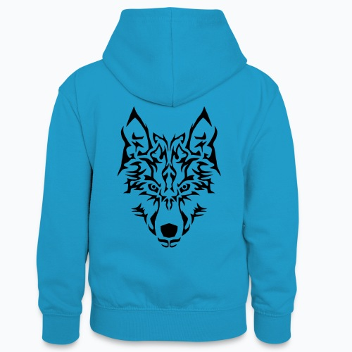 Tribal Wolf - Sweat à capuche contrasté Ado