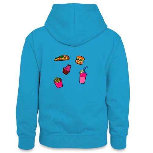 Fast Food Design - Teenager Kontrast-Hoodie