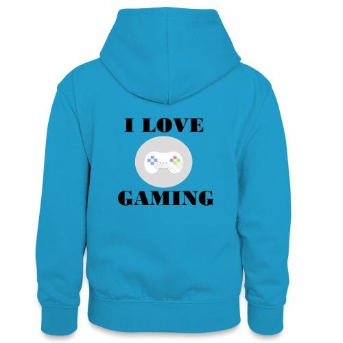 I love Gaming Design - Teenager Kontrast-Hoodie