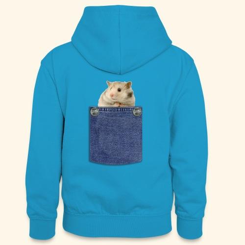 hamster in the poket - Felpa con cappuccio in contrasto cromatico per ragazzi