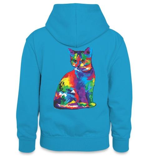 Katze - Teenager Kontrast-Hoodie