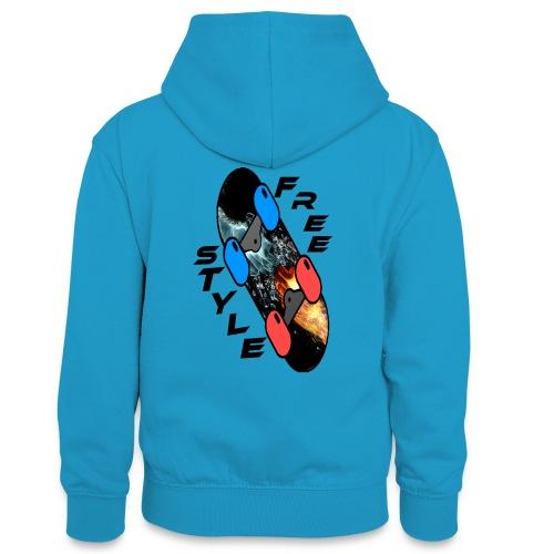 Skateboard Freestyle - Teenager Kontrast-Hoodie