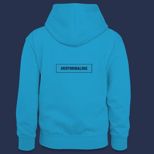 #KRYMINALNIE - logo ciemne - Młodzieżowa bluza z kontrastowym kapturem