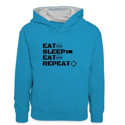 eat sleep eat repeat - Sweat à capuche contrasté Ado