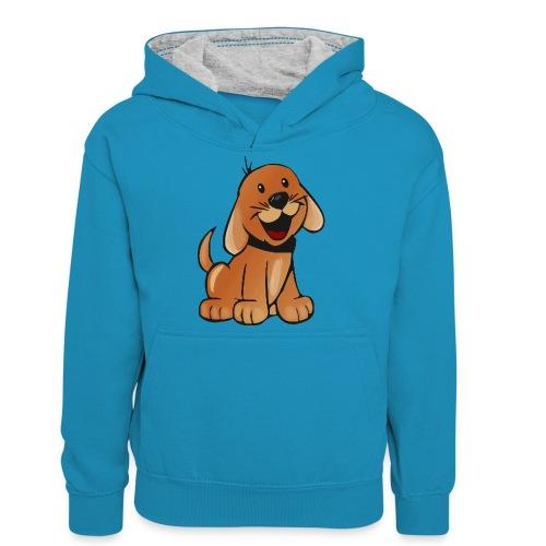 cartoon dog - Felpa con cappuccio in contrasto cromatico per ragazzi