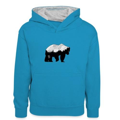 Geometric Mountain Bear - Felpa con cappuccio in contrasto cromatico per ragazzi